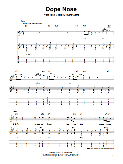 Tablature guitare Dope Nose de Weezer - Autre