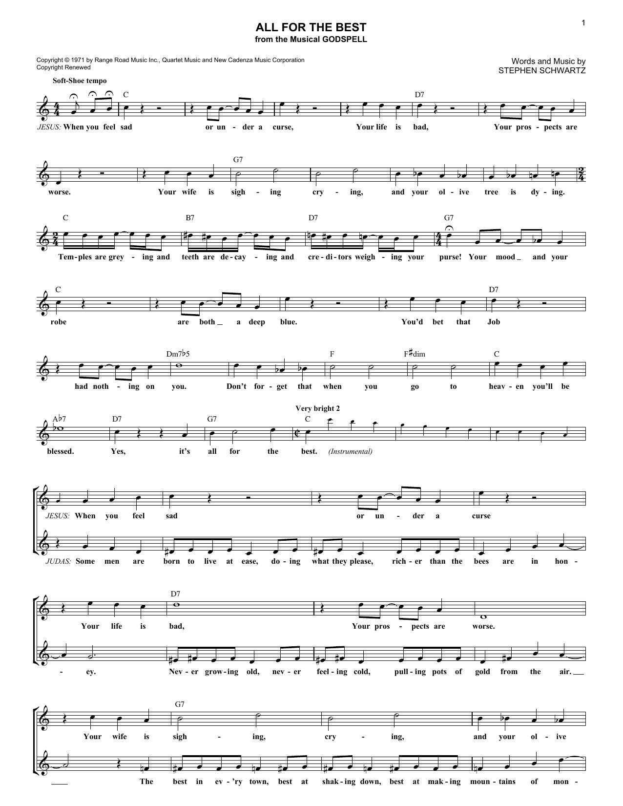 All For The Best (Lead Sheet / Fake Book)