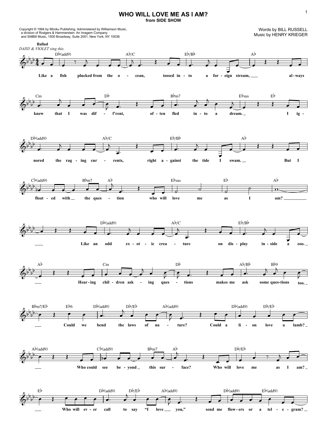 Who Will Love Me As I Am? (Lead Sheet / Fake Book)