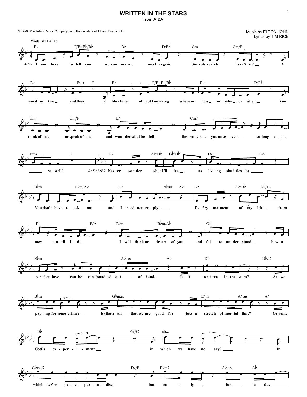 Written In The Stars (Lead Sheet / Fake Book)