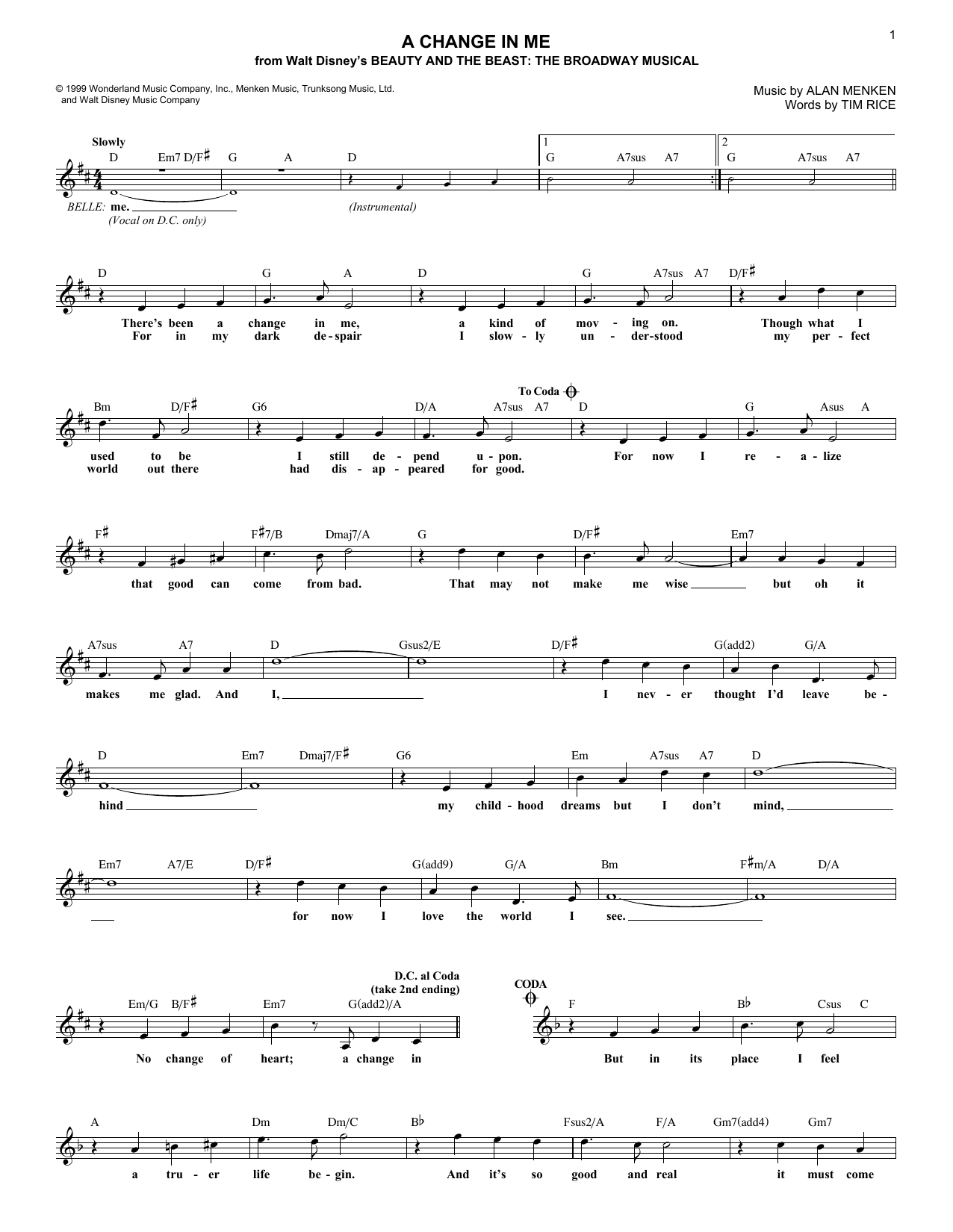 A Change In Me (Lead Sheet / Fake Book)