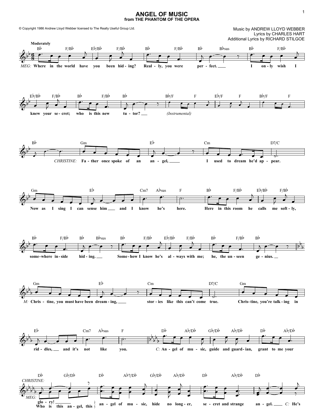 Angel Of Music (from The Phantom Of The Opera) (Lead Sheet / Fake Book)
