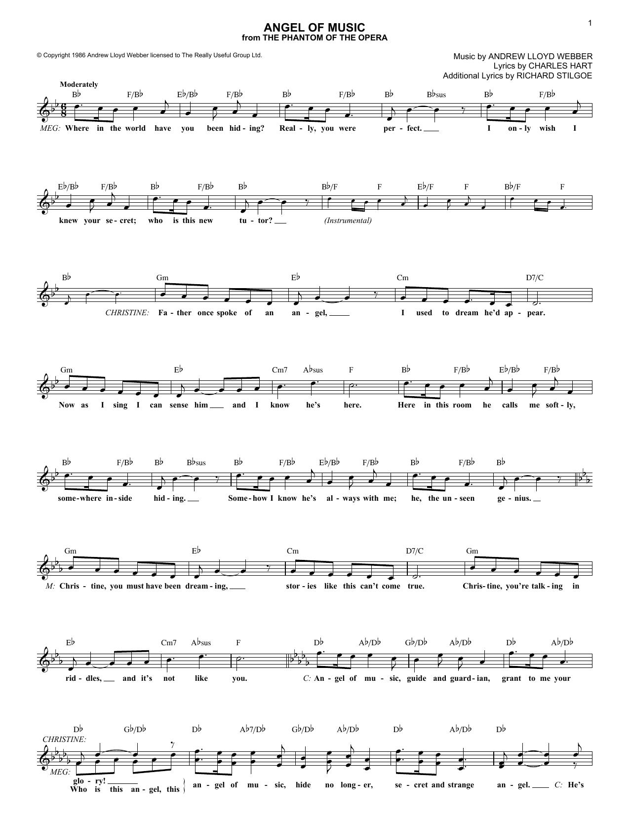Angel Of Music (Lead Sheet / Fake Book)