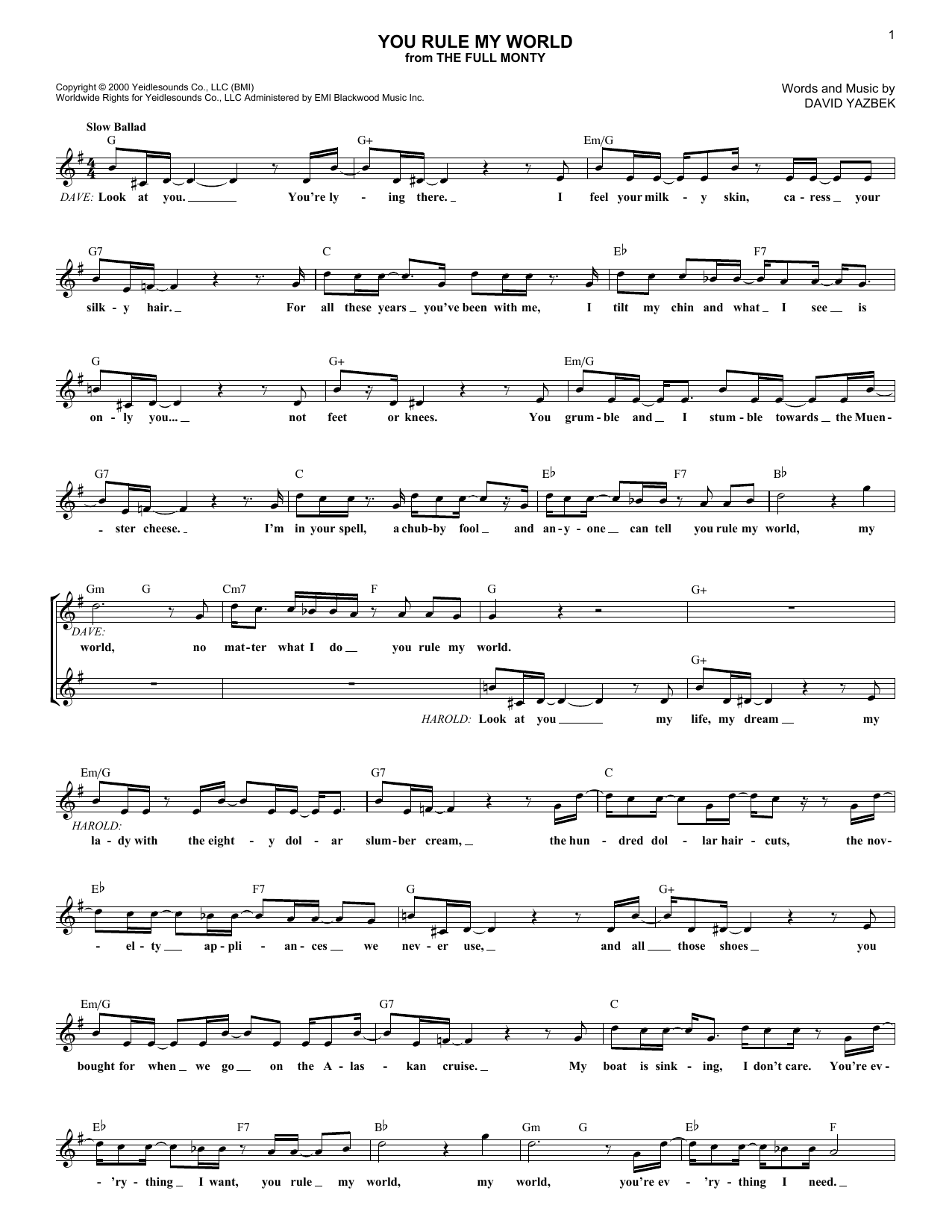 You Rule My World (Lead Sheet / Fake Book)