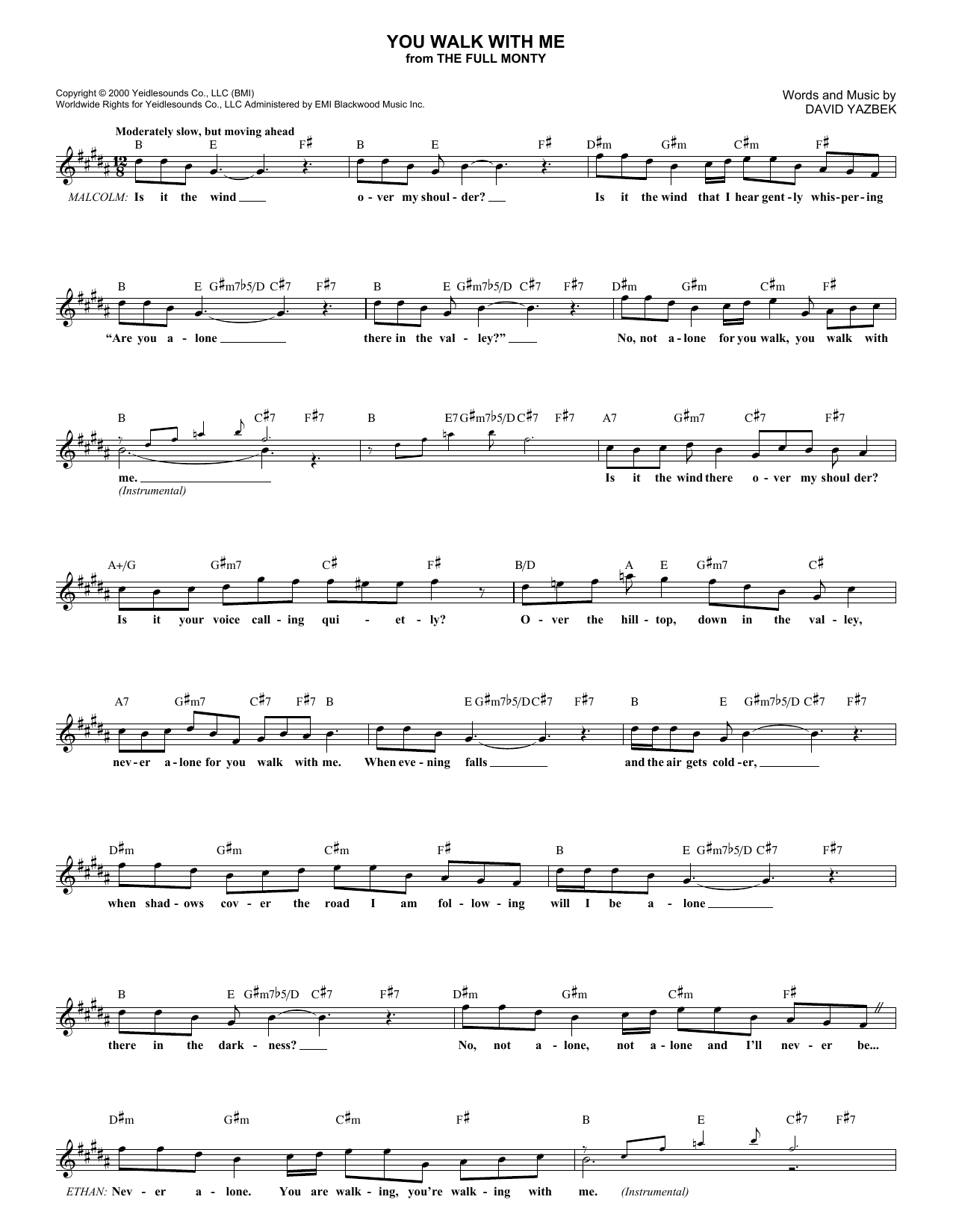 You Walk With Me (Lead Sheet / Fake Book)