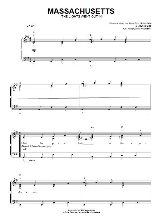 Massachusetts (The Lights Went Out) Sheet Music