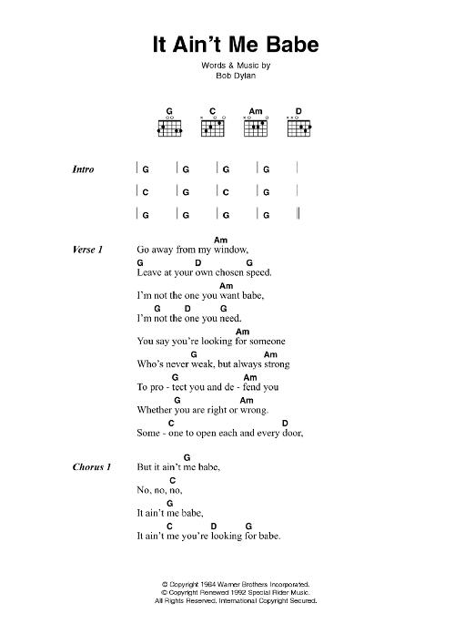 It Ain\'t Me Babe by Johnny Cash - Guitar Chords/Lyrics - Guitar ...