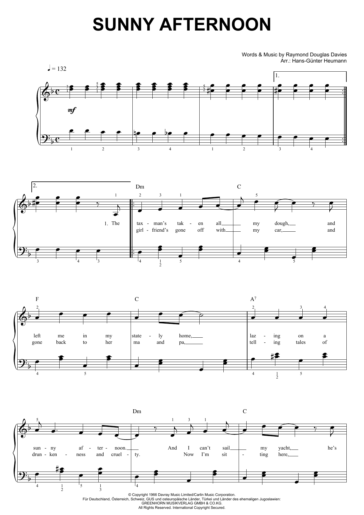 Sunny Afternoon (Piano & Vocal)