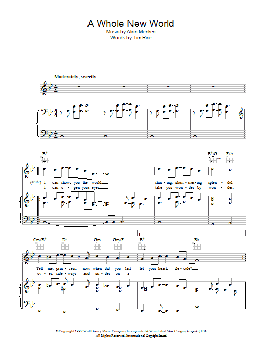 A Whole New World (from Aladdin) (Piano, Vocal & Guitar)