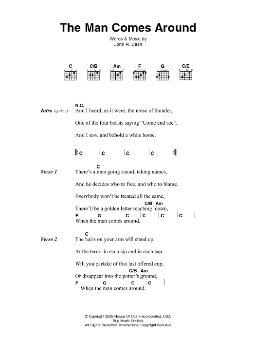 The Man Comes Around By Johnny Cash Guitar Chords Lyrics