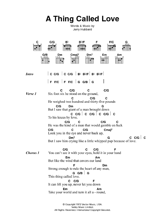A Thing Called Love Sheet Music