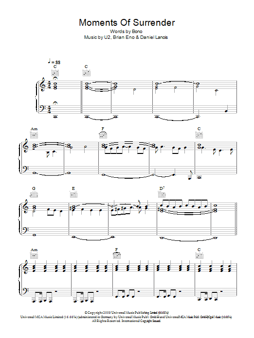 Moment Of Surrender (Piano, Vocal & Guitar)