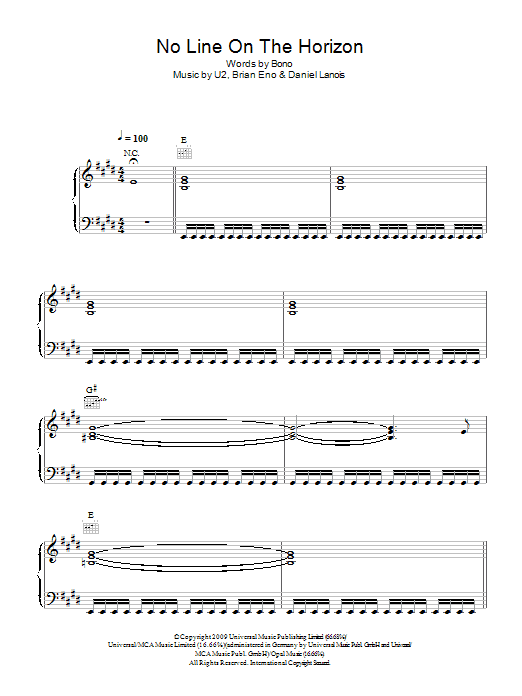 No Line On The Horizon Sheet Music