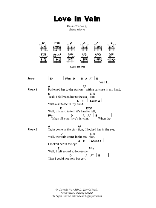 Love In Vain Blues Robert Johnson Lyrics Chords