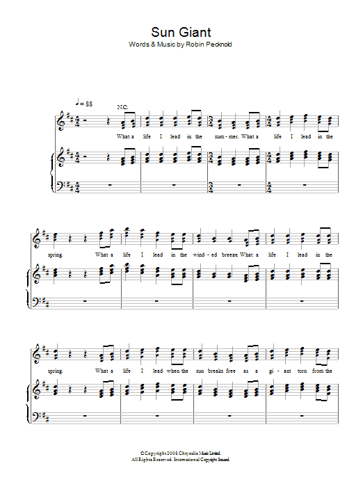 Sun Giant (Piano, Vocal & Guitar)