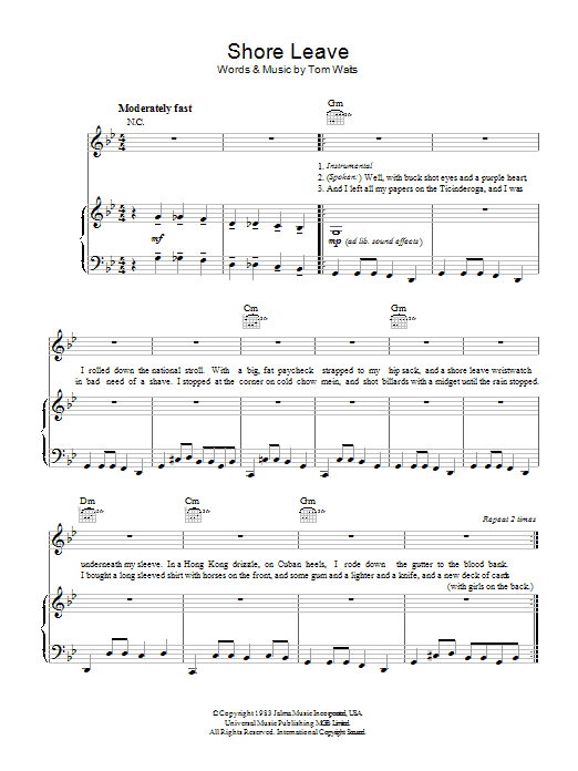Shore Leave (Piano, Vocal & Guitar)