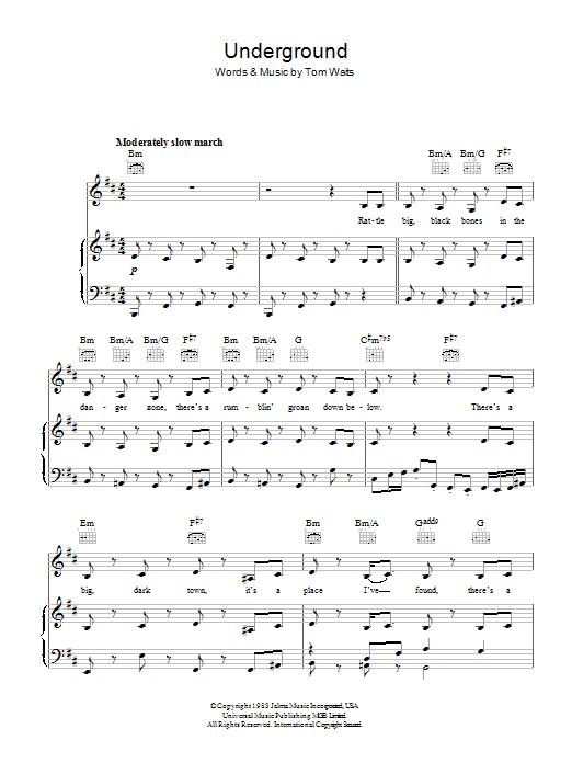 Underground (Piano, Vocal & Guitar)