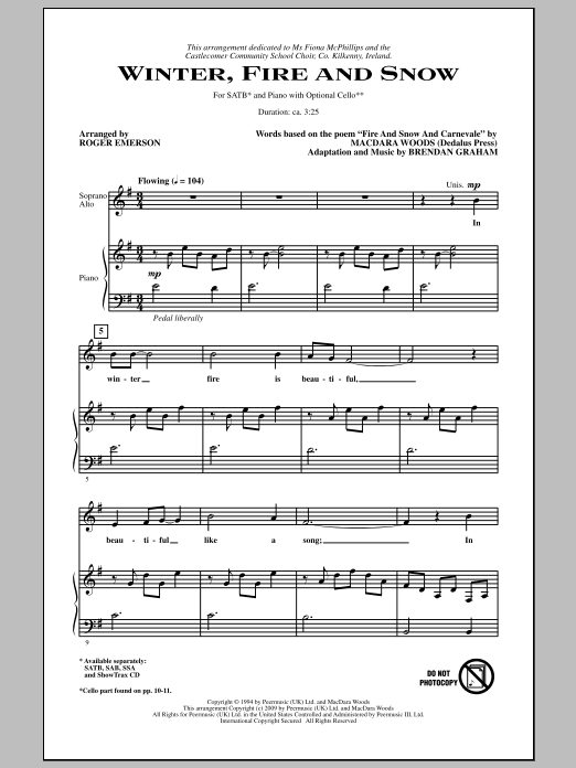 Winter, Fire And Snow Sheet Music