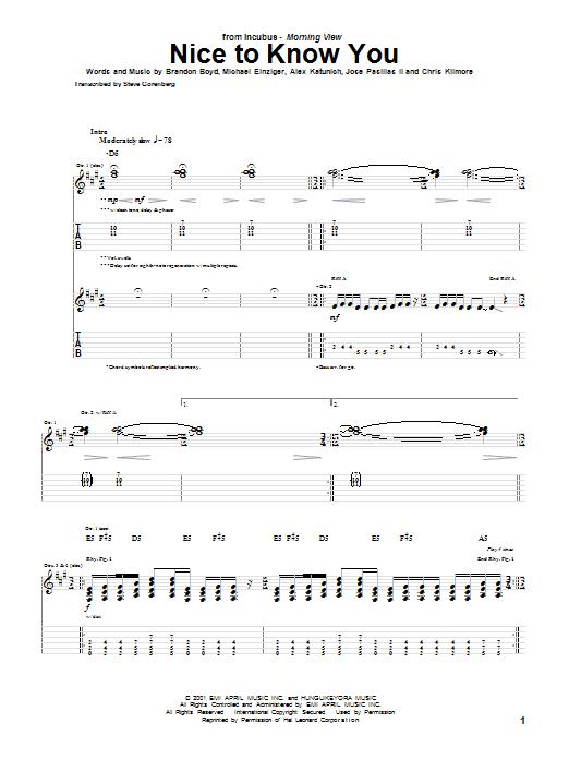 Nice To Know You (Guitar Tab)
