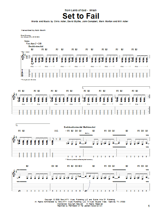 Set To Fail Sheet Music