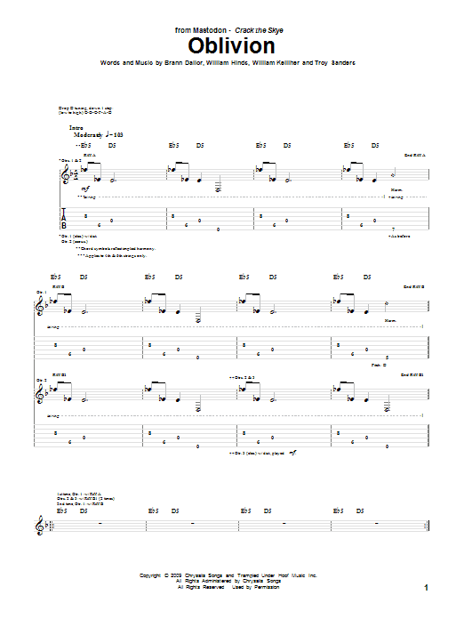 Tablature guitare Oblivion de Mastodon - Tablature Guitare