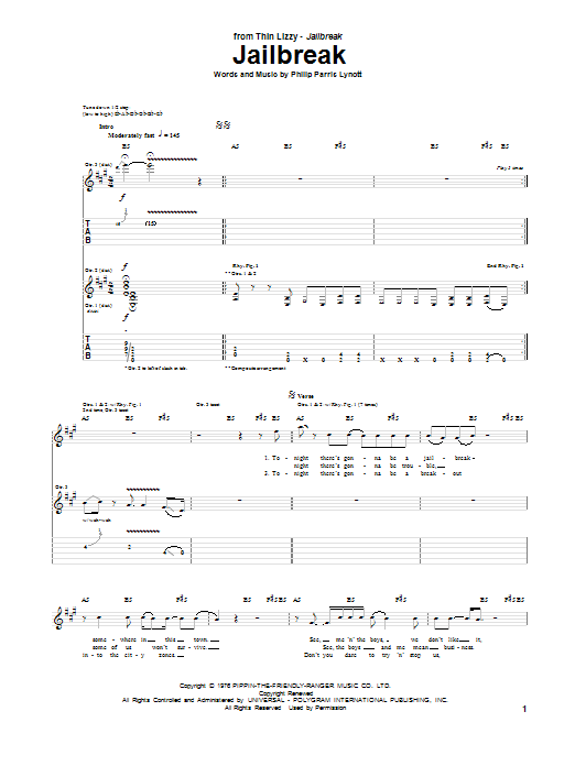 Jailbreak Sheet Music