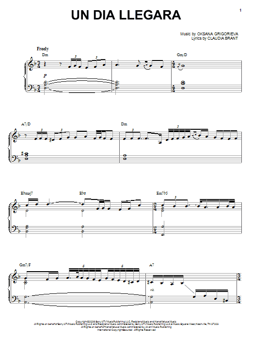 Un Dia Llegara Sheet Music