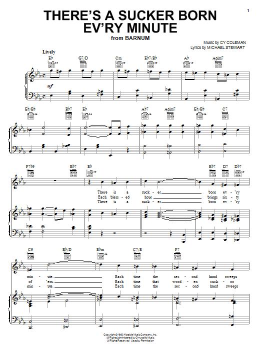 Partition piano There's A Sucker Born Ev'ry Minute de Cy Coleman - Piano Voix Guitare (Mélodie Main Droite)