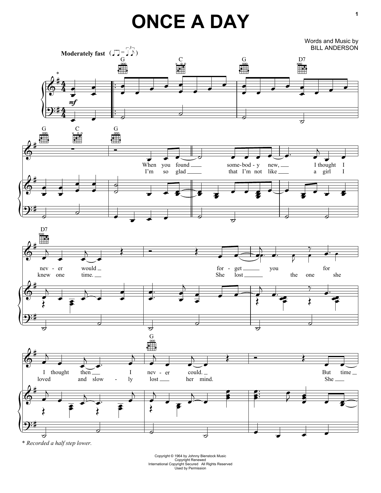 Once A Day (Piano, Vocal & Guitar (Right-Hand Melody))