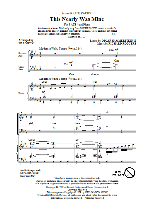 This Nearly Was Mine (from South Pacific) (SATB Choir)