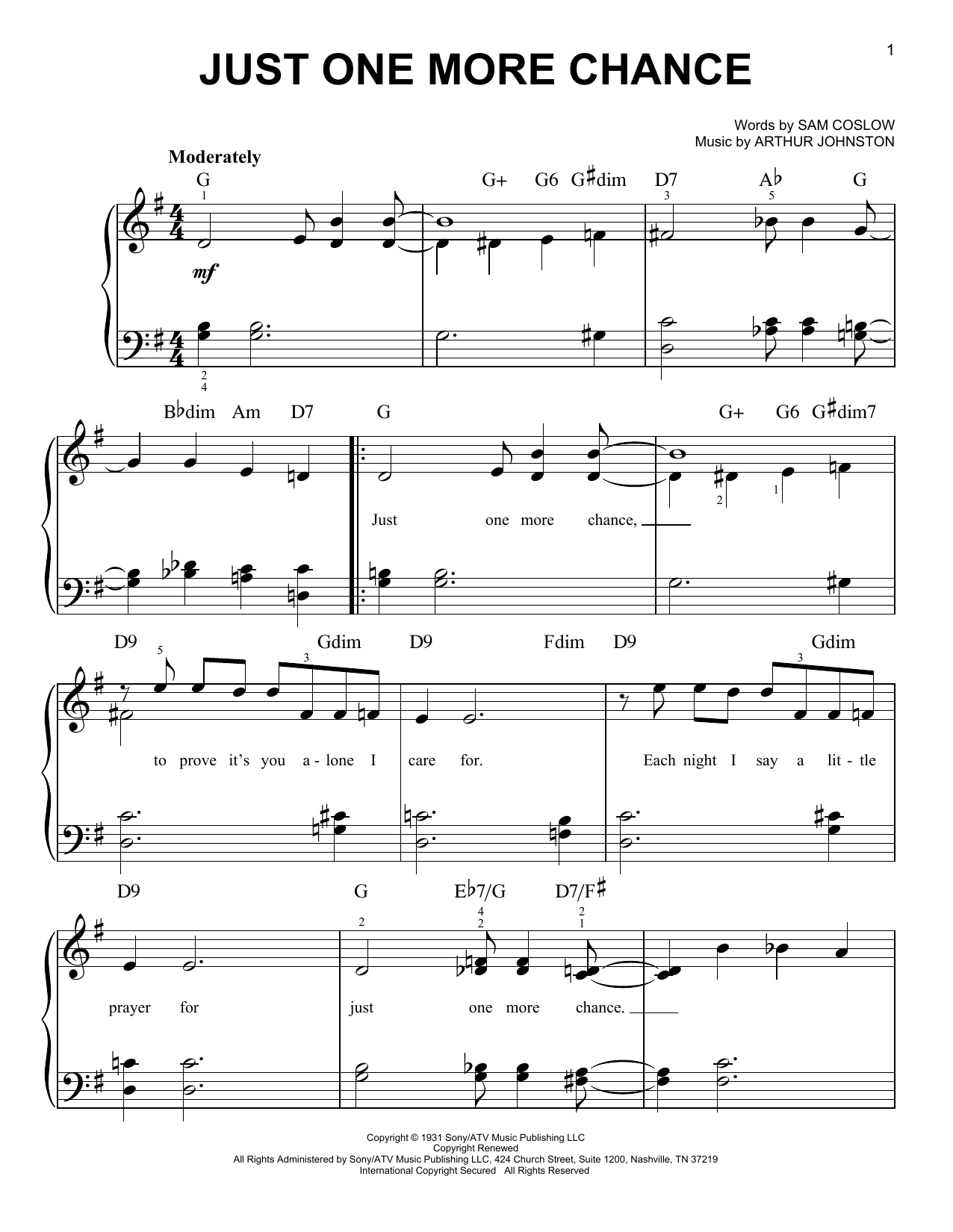 Just One More Chance (Easy Piano)