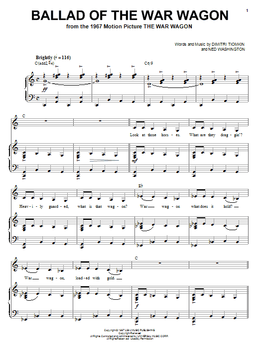 Ballad Of The War Wagon Sheet Music