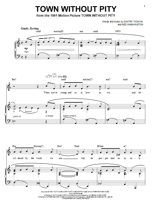 Town Without Pity Sheet Music