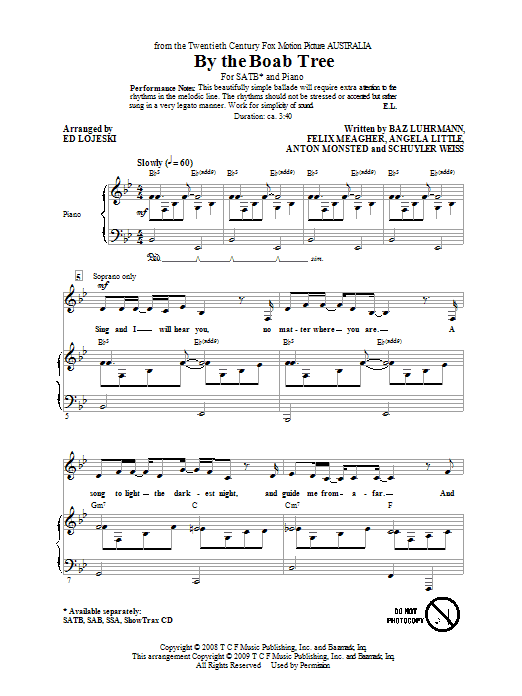 Partition chorale By The Boab Tree de Ophelia Of The Spirits - SATB