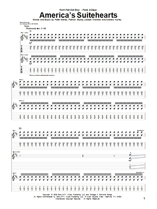 America's Suitehearts Sheet Music