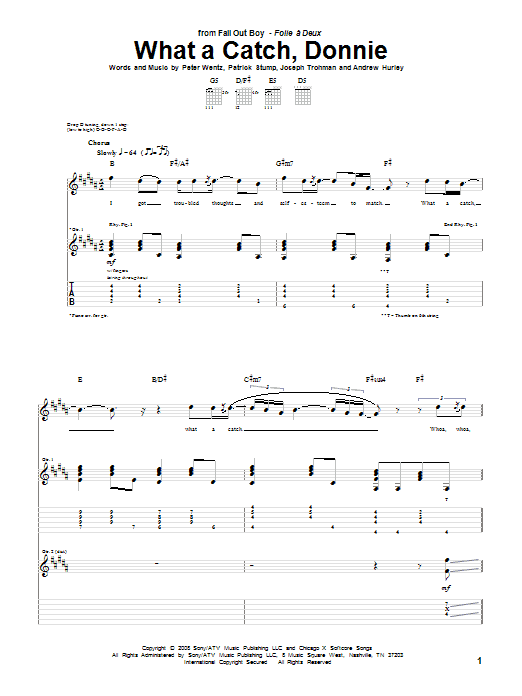 Tablature guitare What A Catch, Donnie de Fall Out Boy - Tablature Guitare