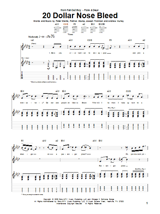 Tablature guitare 20 Dollar Nose Bleed de Fall Out Boy - Tablature Guitare