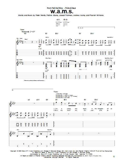 Tablature guitare W.A.M.S. de Fall Out Boy - Tablature Guitare