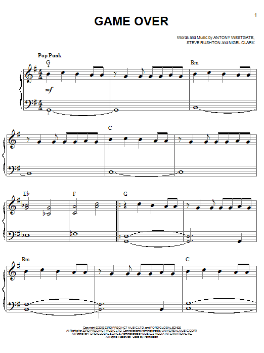 Game Over Sheet Music
