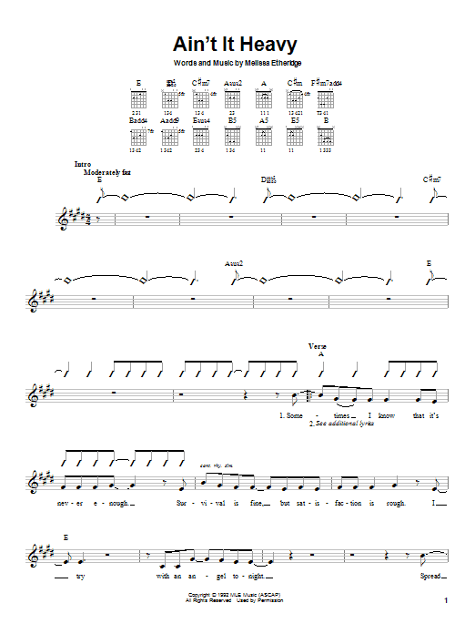 Tablature guitare Ain't It Heavy de Melissa Etheridge - Autre