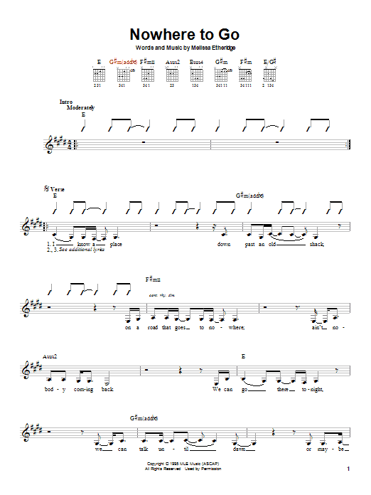 Tablature guitare Nowhere To Go de Melissa Etheridge - Autre