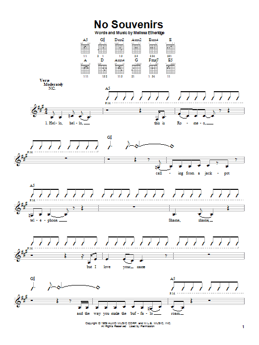 Tablature guitare No Souvenirs de Melissa Etheridge - Autre