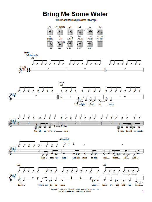 Tablature guitare Bring Me Some Water de Melissa Etheridge - Autre