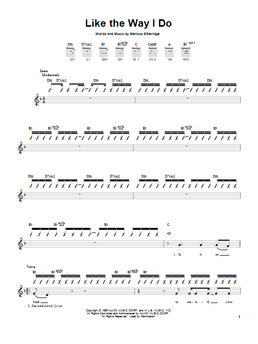 Tablature guitare Like The Way I Do de Melissa Etheridge - Autre