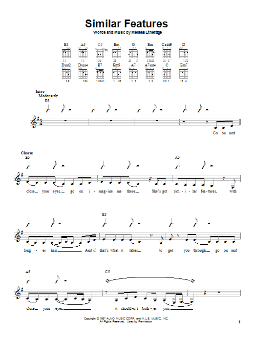 Tablature guitare Similar Features de Melissa Etheridge - Autre