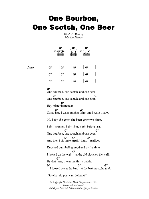 One Bourbon One Scotch One Beer By John Lee Hooker Guitar Chords