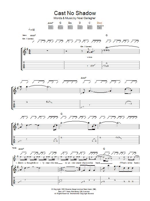 Cast No Shadow (Guitar Tab)