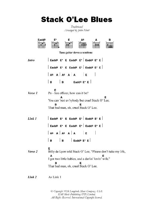 Stack O Lee Blues By Mississippi John Hurt Guitar Chordslyrics