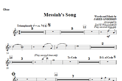 Messiah's Song - Oboe Sheet Music
