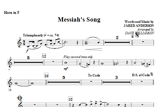 Messiah's Song - Horn in F Sheet Music